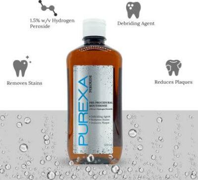 1500 peroxide pre procedural rinse 500ml x 3 set of 3 purexa original