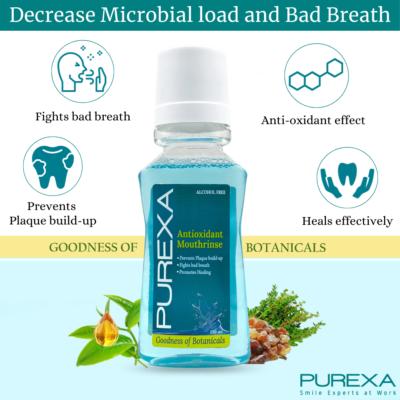 Decrease Bad Breath with antioxidant mouthwash purexaglobal 1